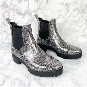 💕 JEFFREY CAMPBELL cloudy rain boot glitter PVC